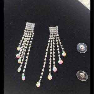 "Rhinestone drop earrings 3"" long"